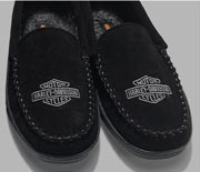 Pair of black mens slippers.