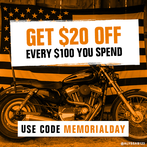 Get $20 Off every $100 you spend. Use code MEMORIALDAY