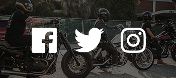 Three bikers with overlaid social media icons.