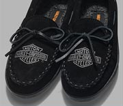 Pair of black womens slippers.